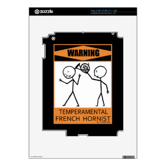 Warning! Temperamental French Horn Player Decal For The iPad 2