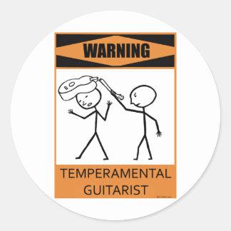 Warning Temperamental Guitarist Classic Round Sticker