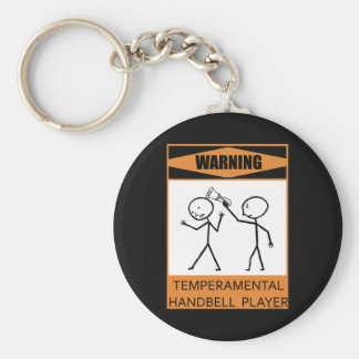Warning Temperamental Handbell Player Basic Round Button Keychain