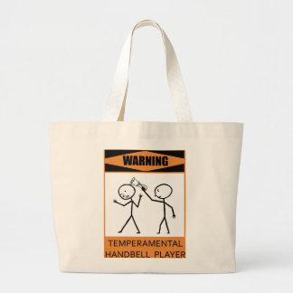 Warning Temperamental Handbell Player Large Tote Bag
