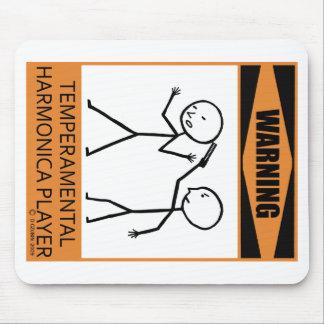 Warning Temperamental Harmonica Player Mouse Pad