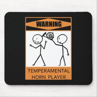 Warning Temperamental Horn Player Mousepad