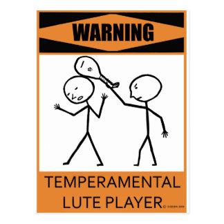 Warning Temperamental Lute Player Postcard