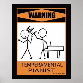 Warning Temperamental Pianist Poster