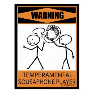 Warning Temperamental Sousaphone Player Postcard