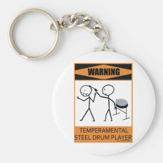 Warning Temperamental Steel Drum Player Keychain