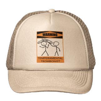 Warning Temperamental Trombonist Hats