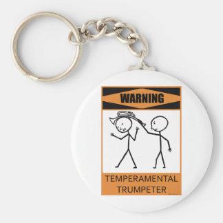 Warning Temperamental Trumpeter Keychain