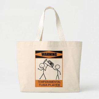 Warning Temperamental Tuba Player Large Tote Bag