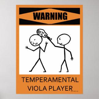 Warning Temperamental Viola Player Poster