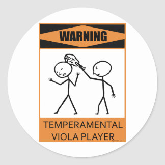 Warning Temperamental Viola Player Stickers