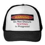 Warning Texting In Progress Ball Cap Hats