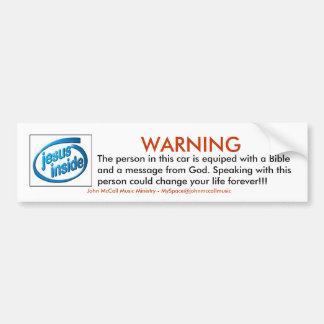 WARNING, The person in this car... Car Bumper Sticker