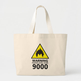 Warning to power its to over 9000 large tote bag