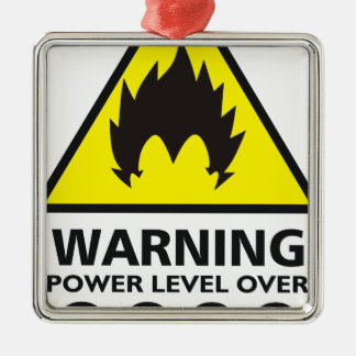 Warning to power its to over 9000 metal ornament