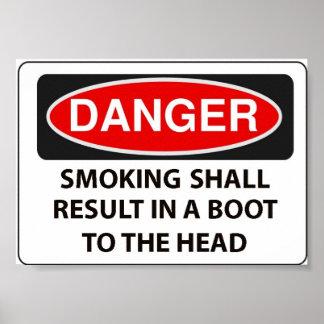 Warning to smokers poster