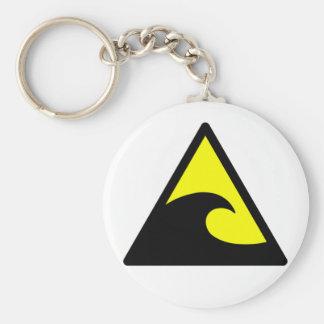 Warning Tsunami Wave Sign Keychain