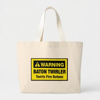 Warning Twirls Fire Batons Canvas Bags