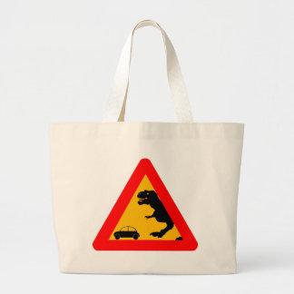 Warning Tyrannosaurus Rex Large Tote Bag