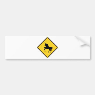 Warning Unicorns Bumper Sticker