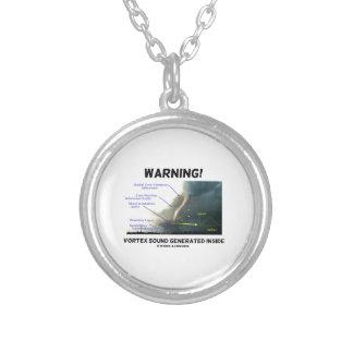 Warning! Vortex Sound Generated Inside (Tornado) Silver Plated Necklace