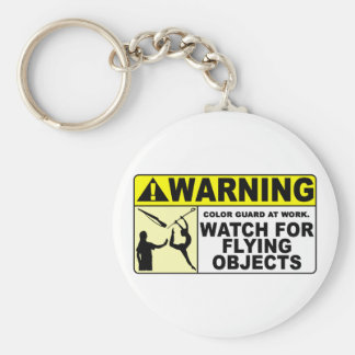 WARNING Watch For Flying Objects! Basic Round Button Keychain