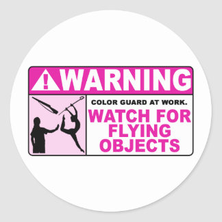 WARNING Watch For Flying Objects! Round Sticker