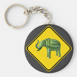 Warning: Watermelon Elephant Crossing! Keychain