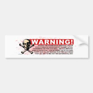 Warning-White Car Bumper Sticker