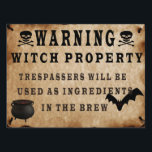 """Warning Witch Property Yard Sign<br><div class=""""desc"""">This Halloween put this Warning Witch Property Yard Sign in your your to scary the little ones.</div>"""