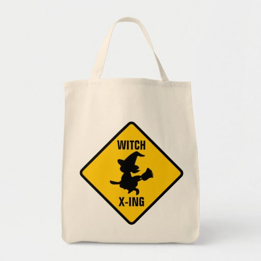 Warning Witches Flying on Broomsticks Ahead Bag