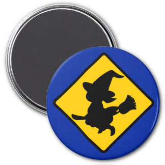 Warning Witches Flying on Broomsticks Ahead Magnet
