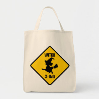 Warning Witches Flying on Broomsticks Ahead Tote Bag