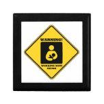 Warning! Working Mom Inside (Yellow Diamond Sign) Trinket Boxes