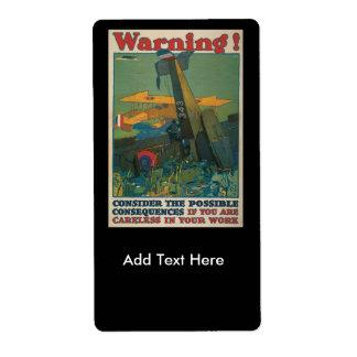 Warning World War II Label
