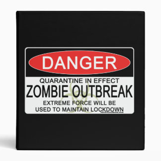 Warning - Zombie Outbreak 3 Ring Binder