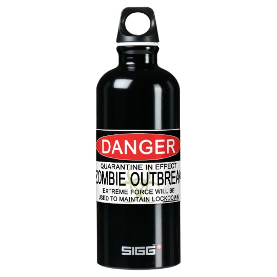 Warning - Zombie Outbreak Aluminum Water Bottle