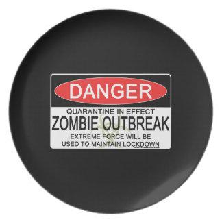 Warning - Zombie Outbreak Dinner Plate