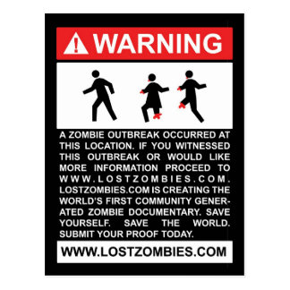 Warning Zombie Outbreak Postcard