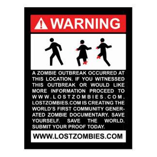 Warning Zombie Outbreak Postcard