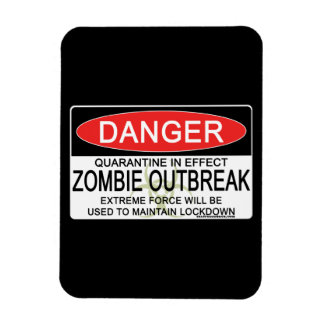 Warning - Zombie Outbreak Vinyl Magnet