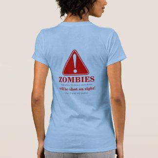 WARNING Zombies will be shot 5 Back Tees