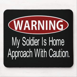 Warningsoldierwhite Mouse Pad