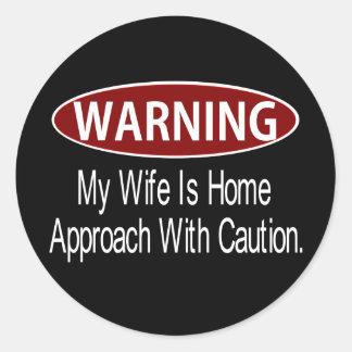 Warningwifewhite Classic Round Sticker