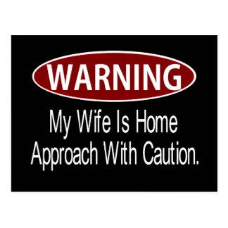 Warningwifewhite Postcard