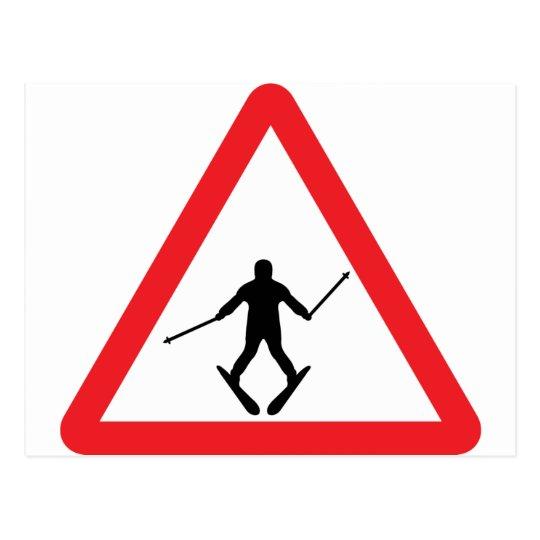 warnsign ski learner - skiing skier plow postcard