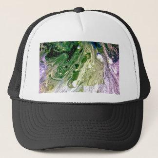 Warp green purple white space trucker hat
