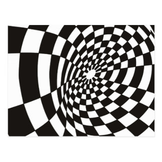Warped Checkerboard in Black and White Postcard