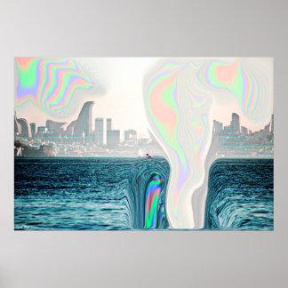 "Warped City Poster - X Large (28"" x 18.7"")"