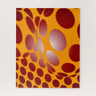 Warped Dots in Gold and Red Jigsaw Puzzle